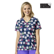 Z12202 Pearly Whites Dental Print Nurse Scrub Printed Top - Infectious Clothing Company