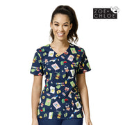 Z12202 Summer Fun Fashion Print Nurse Scrub Printed Top - Infectious Clothing Company