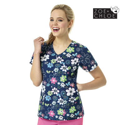 Z12202 Spring Field Navy Fashion Print Nurse Scrub Printed Top - Infectious Clothing Company