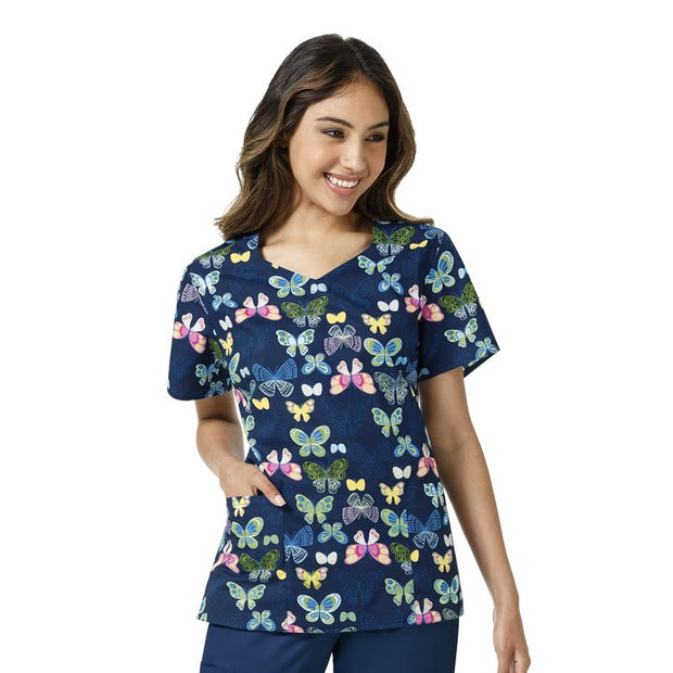 Z15202 Winged Mosaic Womens Butterfly Nurse Scrub Printed Top - Infectious Clothing Company