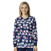 Z85202 Womens Z+C Dental Print Scrubs Jacket - Infectious Clothing Company