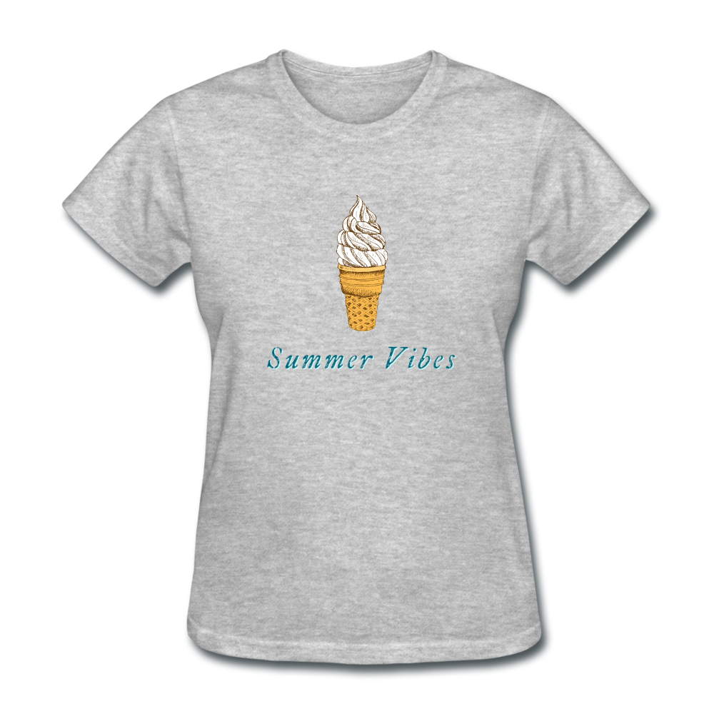 Summer Vibes Ice Cream Tee - heather gray