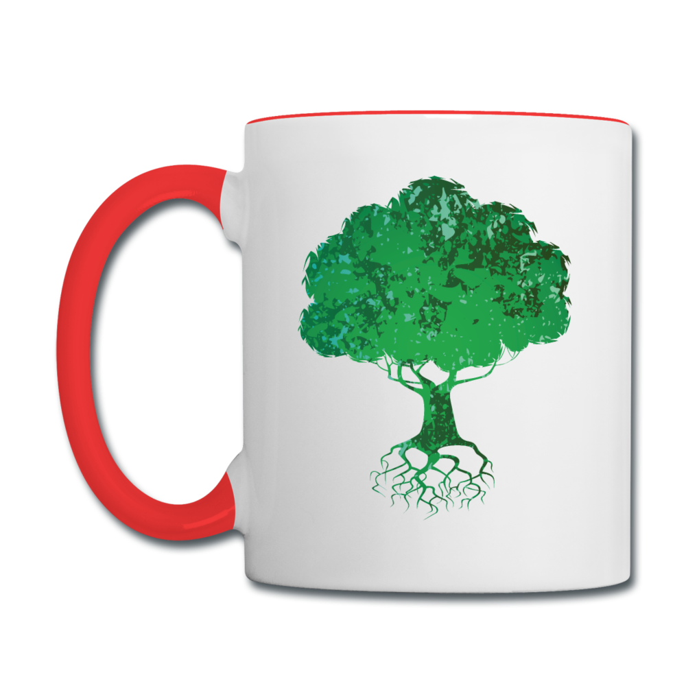 The wind may roar, but the tree remains steady mug - white/red