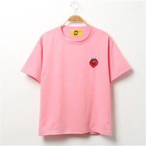 Strawberry Embroidered T-Shirt