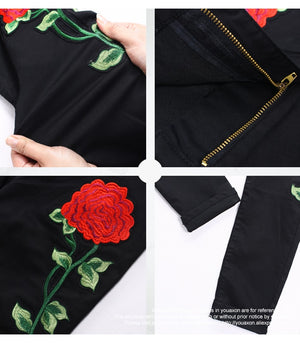High Waist Embroidery Rose Jeans