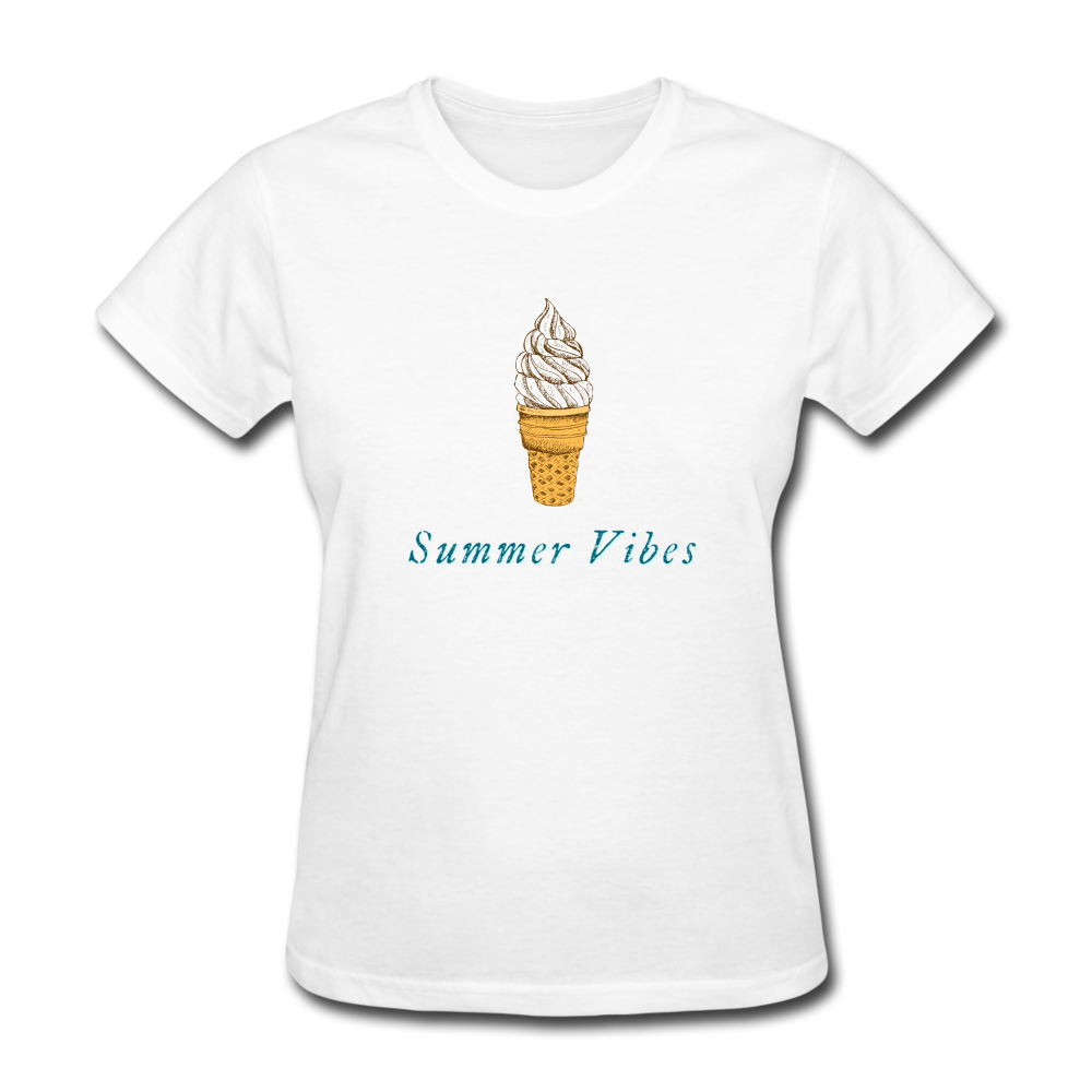 Summer Vibes Ice Cream Tee - white
