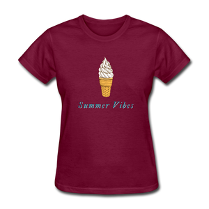 Summer Vibes Ice Cream Tee - burgundy
