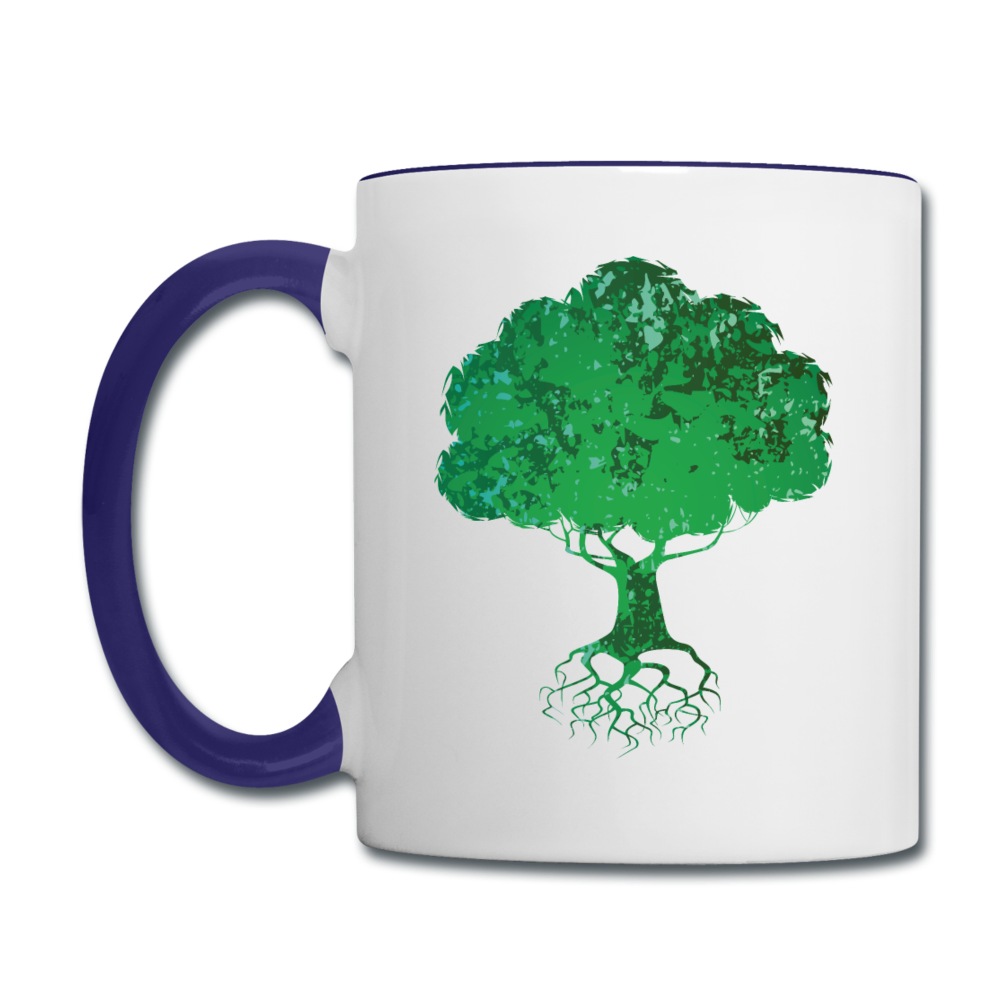 The wind may roar, but the tree remains steady mug - white/cobalt blue