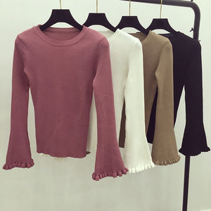 Full Flare Sleeve O-neck Sweaters