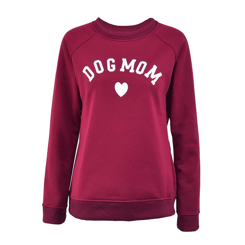 Dog Mom Women's Plus Velvet Fashionable Long Sleeve Casual Sweatshirt Printing Heart-shaped Print Kawaii Sweatshirt Clothing