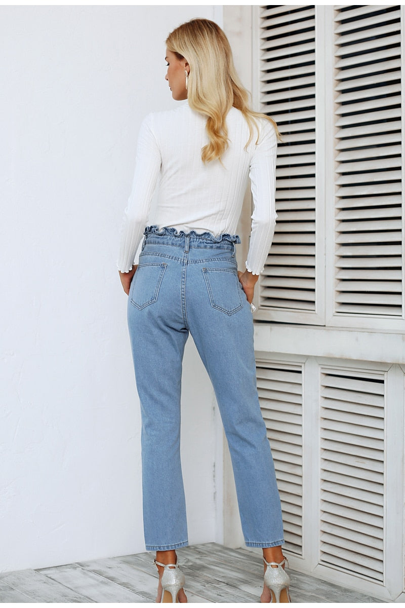 Light Blue Flower Ruffle Jeans