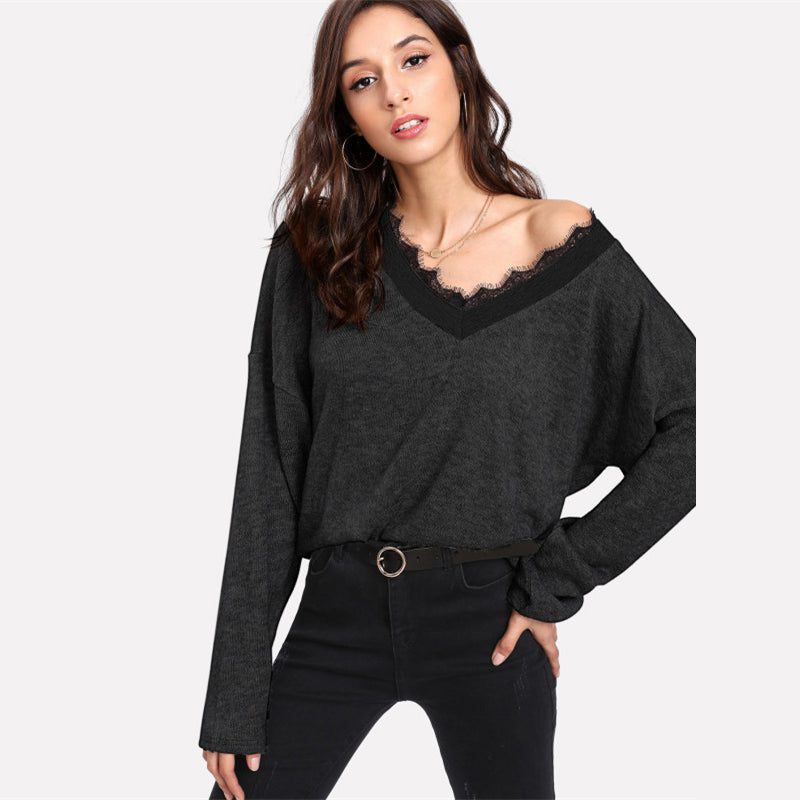 Black Solid Lace Knitted Sweater