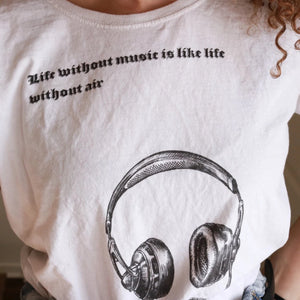 Life without music is like life without air tee