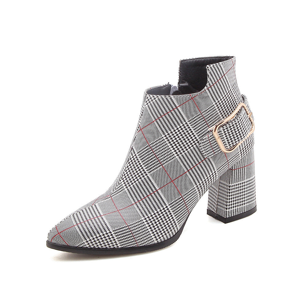 Plaid Pointed Toe High Heels