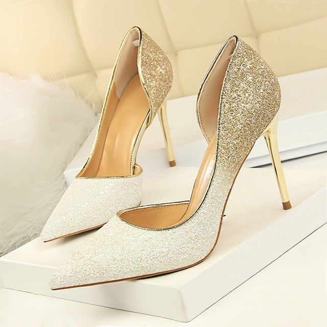 LAKESHI Women Pumps Extrem Sexy High Heels Women Shoes Thin Heels Female Shoes Wedding Shoes Gold Sliver White Ladies Shoes 1