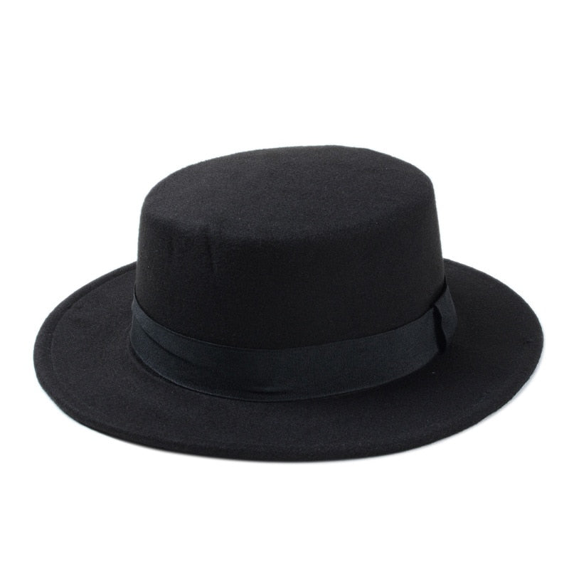 New Fashion Wool Pork Pie Boater Flat Top Hat