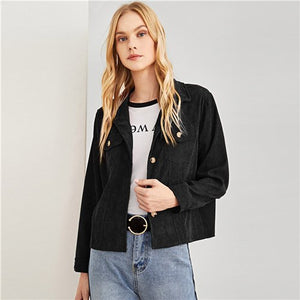 Black Highstreet Casual Dual Pocket Single Breasted Solid Jacket