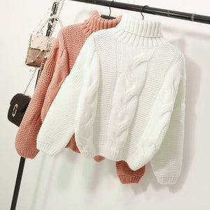 Sweaters Women's Autumn Winter Thickened Knits Korean Style Turtlenek Neck Short Wear Lazy Wind Pullover Tops Beige Brown