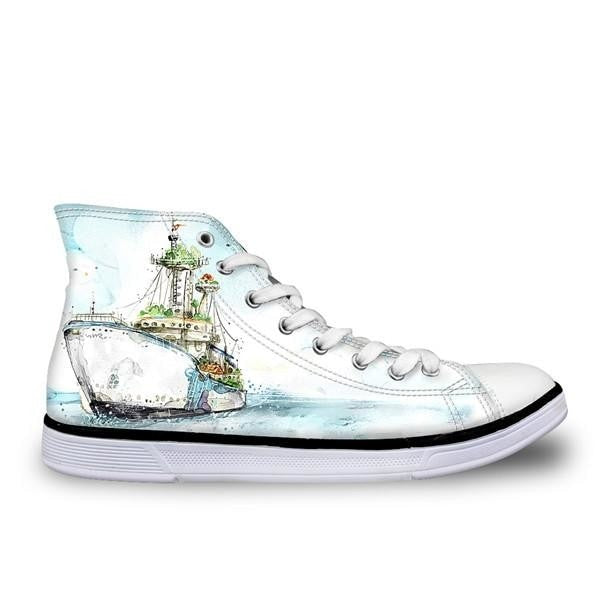Hand Painted Women High Top Canvas Shoes