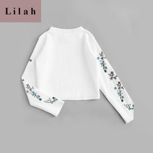 Floral Embroidered Ribbed White Top