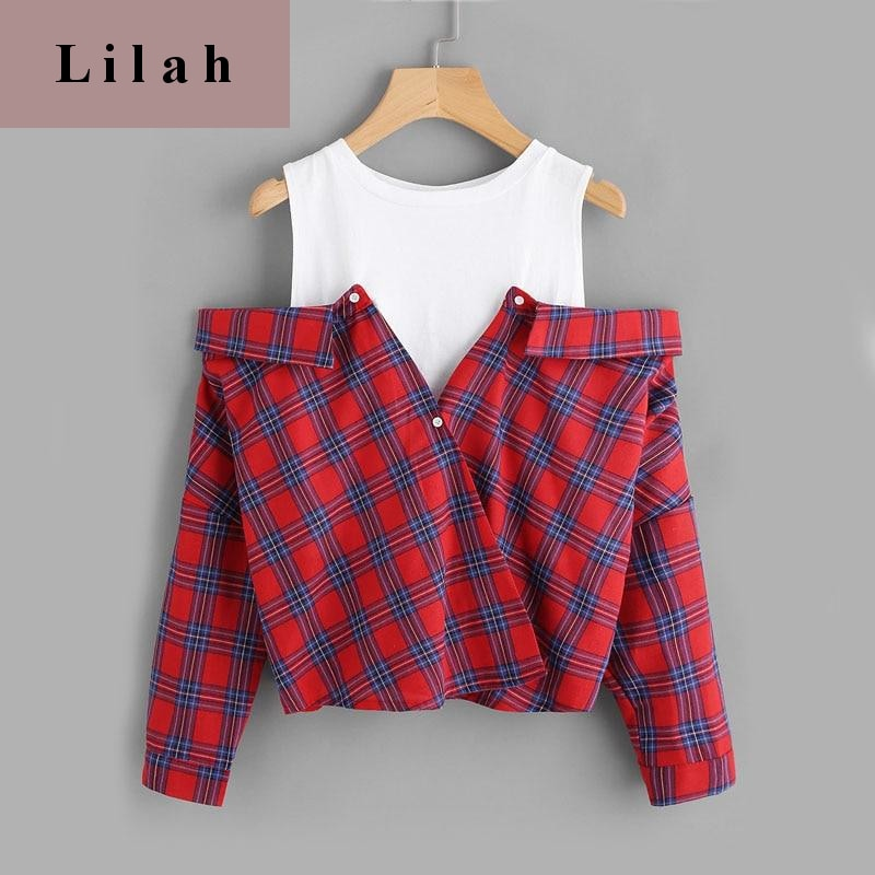 Red Button Plaid Top