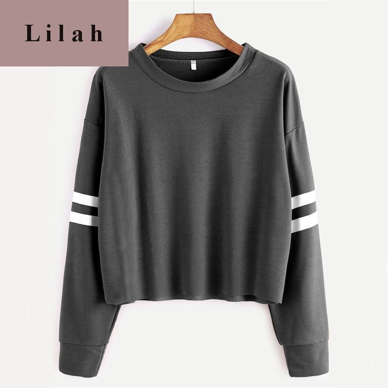 Deep Grey Varsity Striped Crop Round Neck Long Sleeve T-shirt