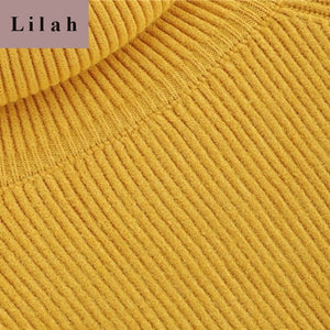 Yellow Solid High Neck Asymmetrical Sweater