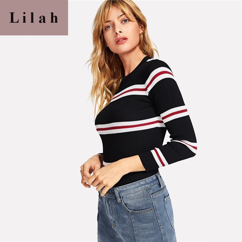 Black Contrast Ruby Striped Skinny Sweater