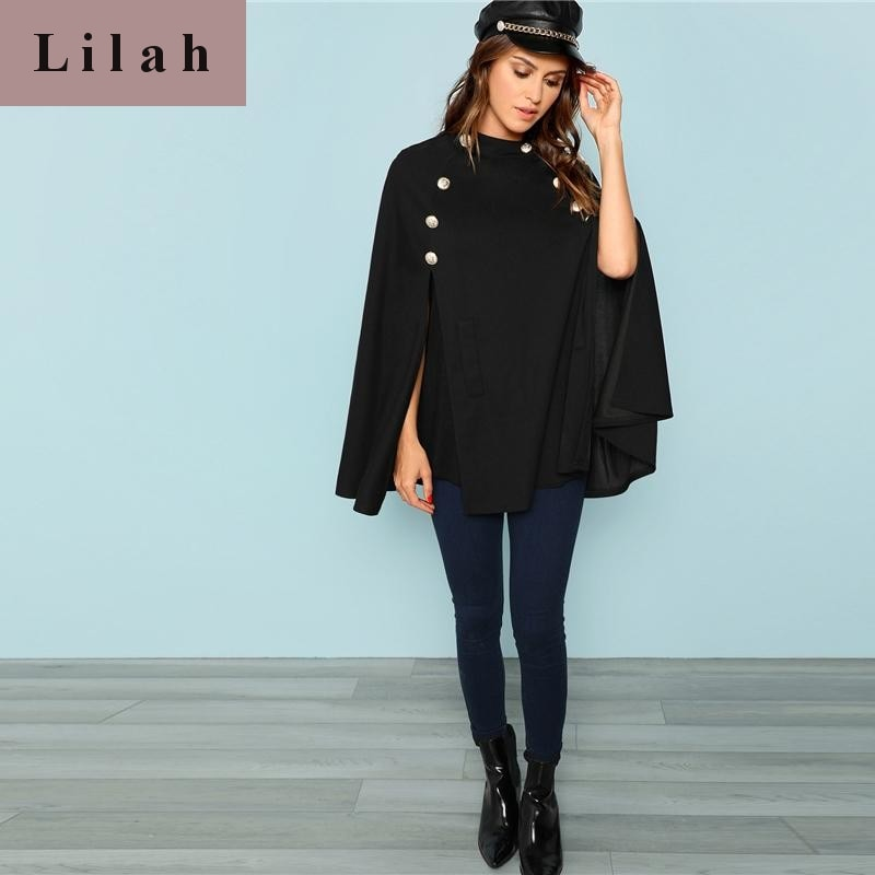 Black Highstreet Office Double Button Mock Poncho