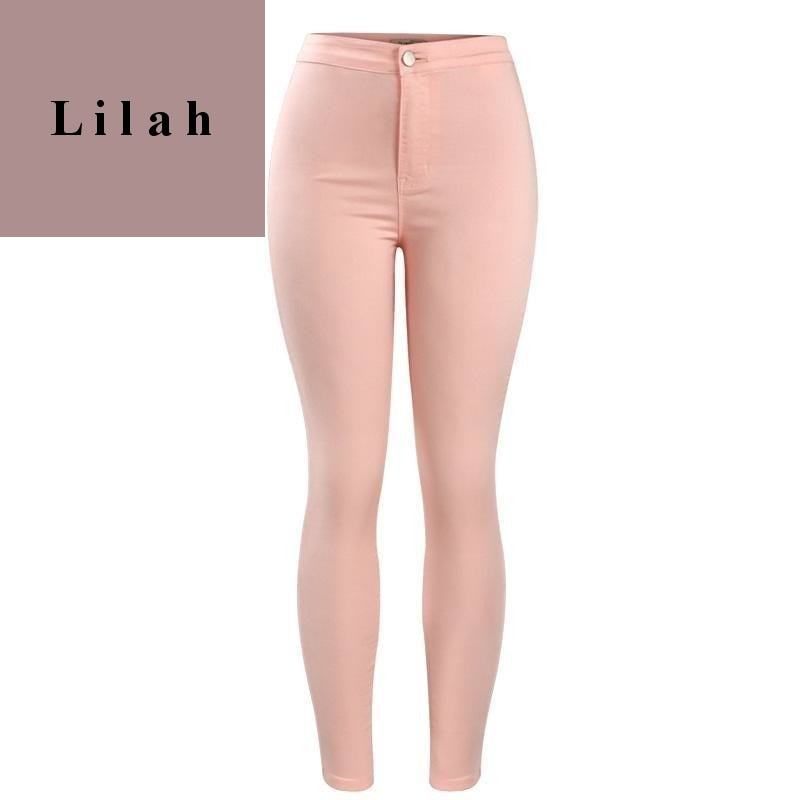 Fashion Pink High Waist Denim Pants