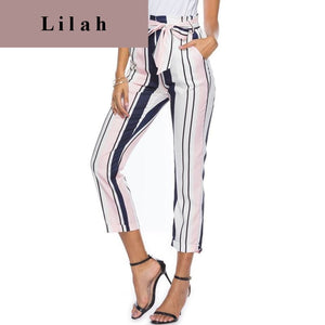 Striped Broadcloth Ankle-Length Pants