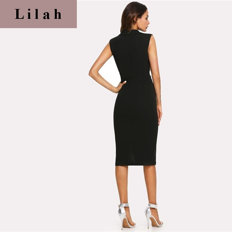Elegant Notched Skinny Dress