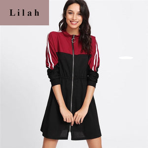 Long Sleeve Shift Short Dress