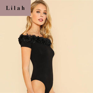 Black Flower Applique Off Shoulder Bodysuit