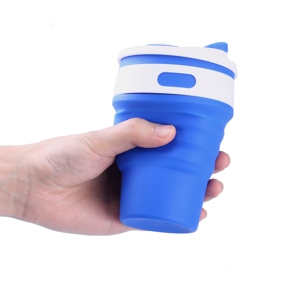 Uarter 350ml Multi Functional Silicone Collapsible Cup Foldable Stainless Steel Travel Hover To Zoom