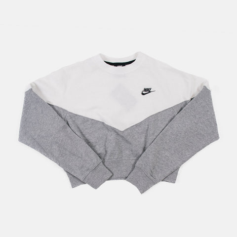 Wmns Nike Sportswear Heritage Fleece Crew   Grey-White/Black