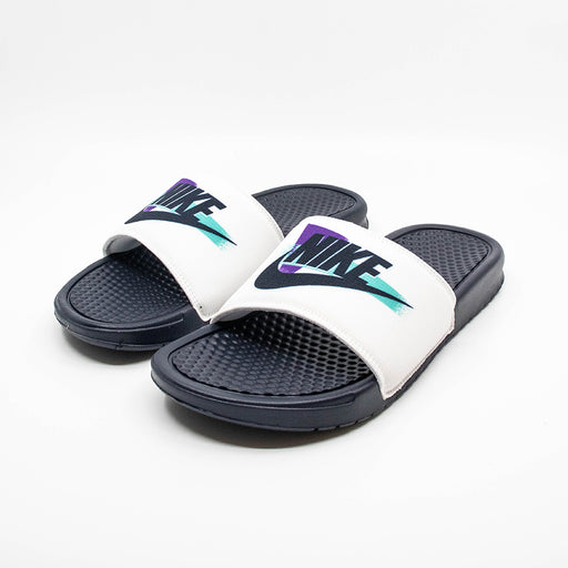 Benassi   White/Obsidian-Hyper Grape-Hyper Jade