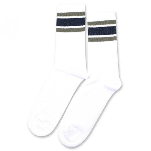 Democratique Socks Athletique Classique Stripes Clear White/Army Shaded Blue