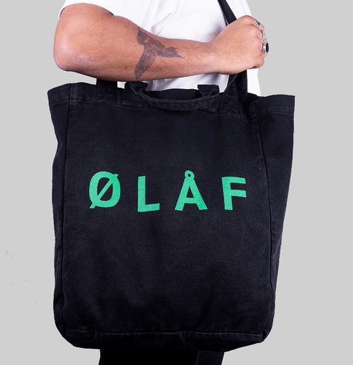 ØLÅF Tote Bag Washed Black/ Green