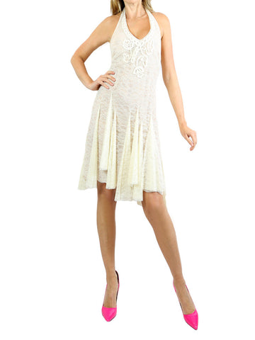 BLUE GIRL  cream lace halter dress. EU40/ US 6