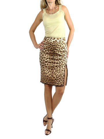 BLUMARINE brown leopard animal print skirt. EU38/US 2