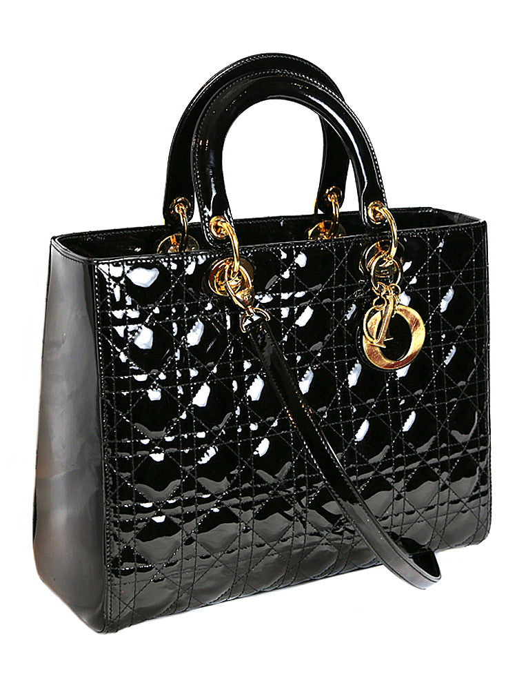CHRISTIAN DIOR LADY DIOR black patent leather quilted bag ... : dior quilted bag - Adamdwight.com