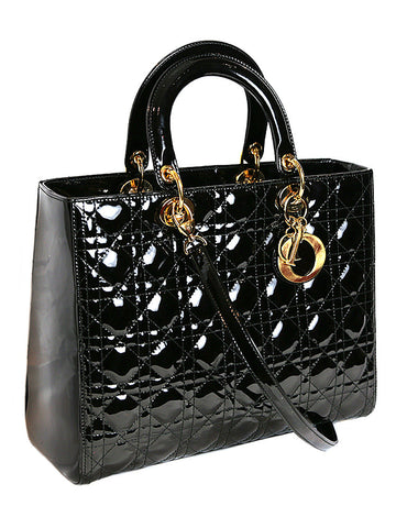 CHRISTIAN DIOR LADY DIOR black patent leather quilted bag