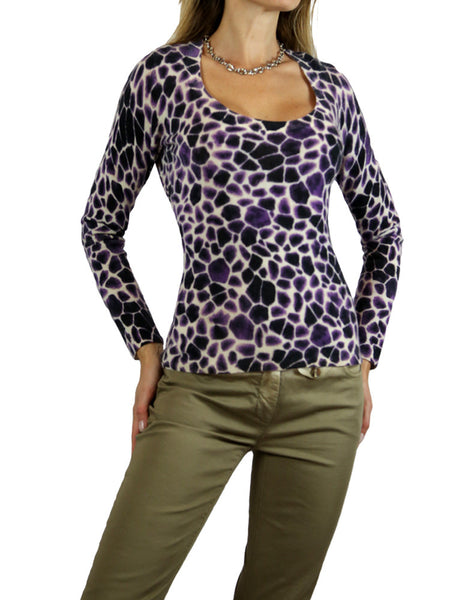 MAGASCIONI purple white zebra print cashmere sweater. M