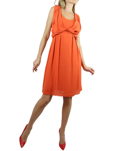 MATTHEW WILLIAMSON orange beaded silk dress. 10
