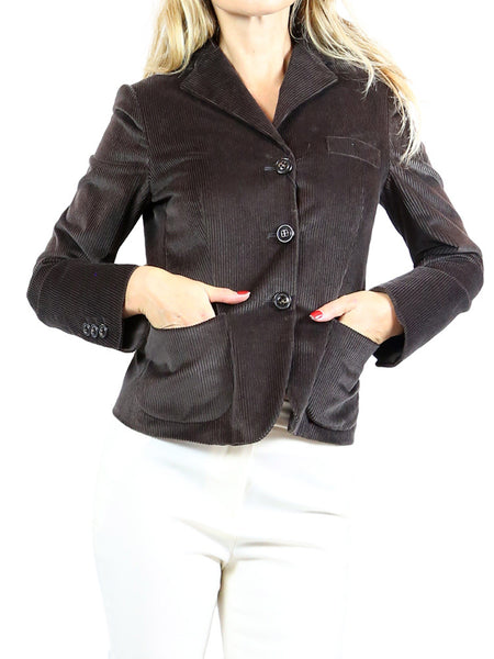 MAX MARA Weekend Brown Corduroy Blazer Jacket. US 2