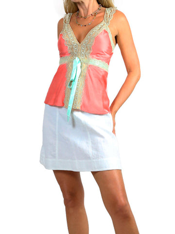 MIGUELINA coral silk satin camisole top. Small