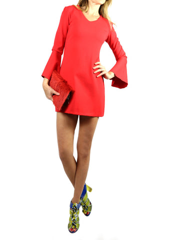 ON57 New York red dress with long sleeves, S,M.L