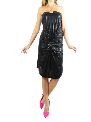 ALBERTA FERRETTI black strapless shiny dress.EU 40/M