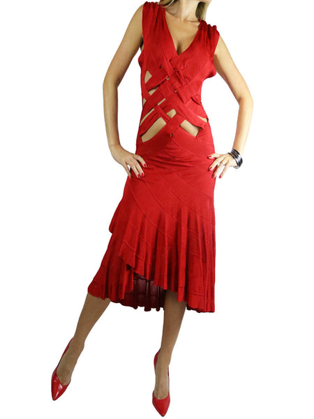 PLEIN SUID red sleeveless dress. S